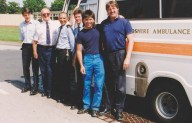PhilipL 004 - DaveBennett,Amb.Driver,CliffGear,PhillipLocke - with Works Staff Robby Mullin and Alan Neal